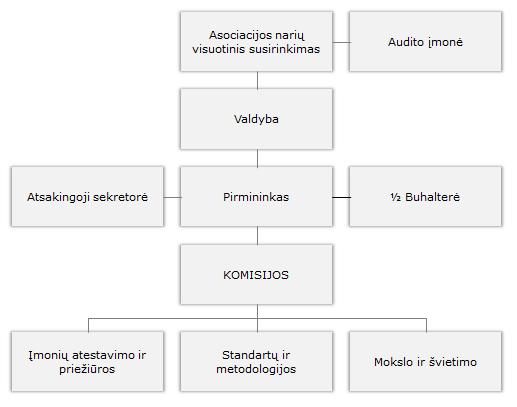 Lietuvos turtą ir verslą vertinančių įmonių asociacijos struktūra